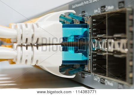 Patching cords connected in server