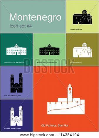 Landmarks of Montenegro. Set of color icons in Metro style. Raster illustration.