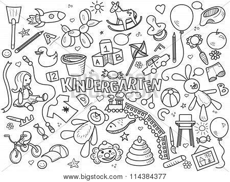 Kindergarten colorless set vector