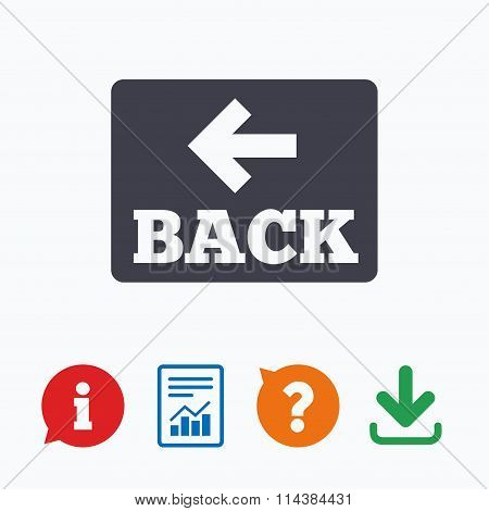 Arrow sign icon. Back button. Navigation symbol