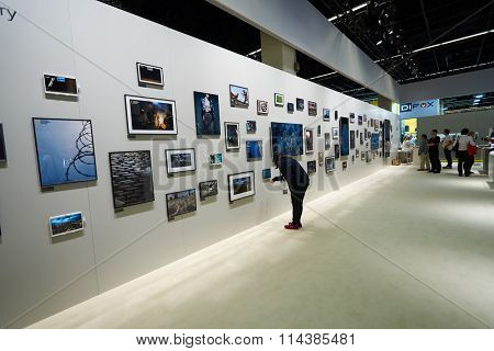 COLOGNE, GERMANY - SEPTEMBER 19, 2014: inside of Cologne Exhibition Centre during Photokina exhibition. The Photokina is the world's largest trade fair for the photographic and imaging industries