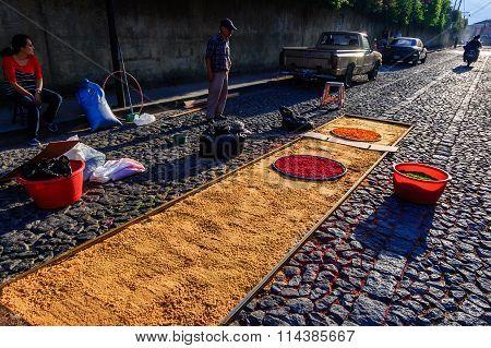 Making Good Friday Carpet, Antigua, Guatemala