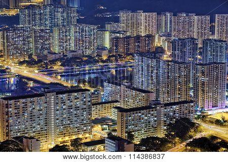 Hong Kong Sha Tin area at Night