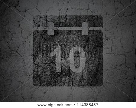 Timeline concept: Calendar on grunge wall background