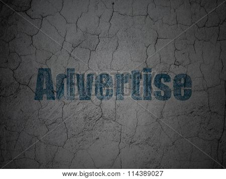 Advertising concept: Advertise on grunge wall background