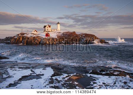 Sunset Around Nubble Lighthouse in Maine Winter