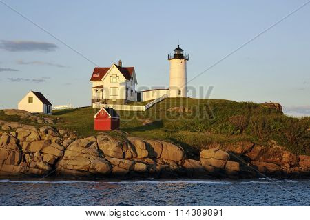 Nubble (Cape Neddick) Lighthouse At Sunset