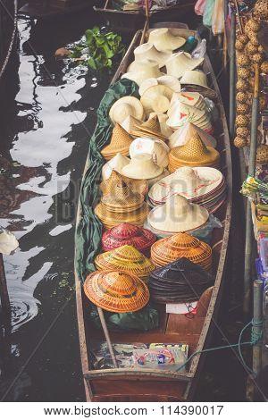 Traditional Floating Market In Damnoen Saduak Near Bangkok