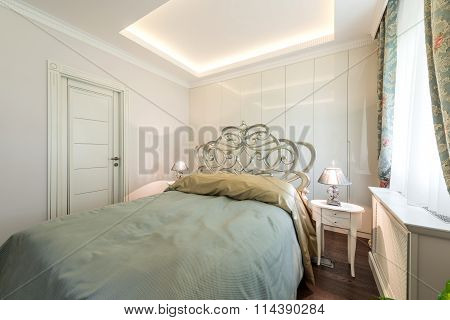 Double Bed In The Apartment Interior