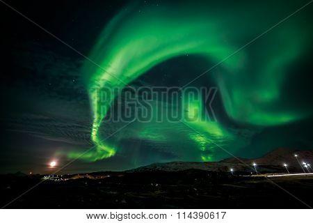 Greenlandic Northern Lights Over Nuuk City