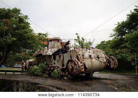 Old Japanese tank in Saipan North Mariana Islands