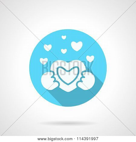 Round blue love confession flat vector icon
