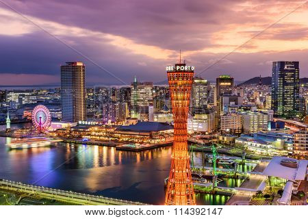 KOBE, JAPAN - DECEMBER 16, 2015: Port of Kobe, Japan with the landmark tower at dusk.