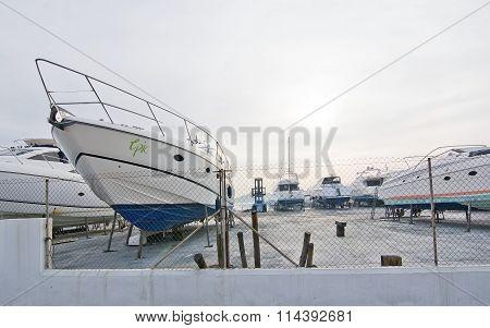 Marina With Beautiful Yachts On Land
