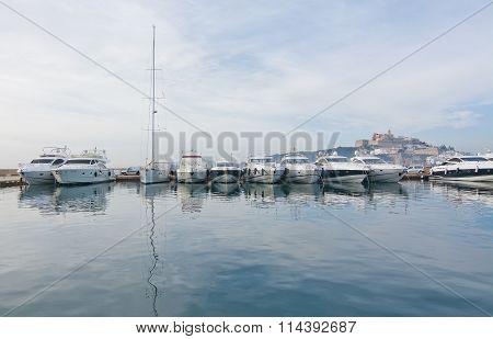 Moored Yachts And Old City Dalt Vila