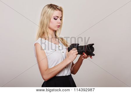 Beautiful Woman With Camera.