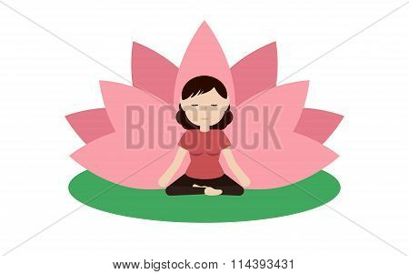 Calm Woman Is Doing Yoga And Sitting In The Lotus Position.