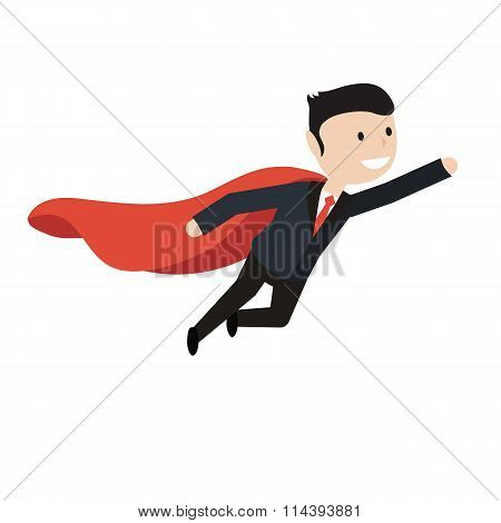 Super Businessman Flies Up. Business Concept Illustration.