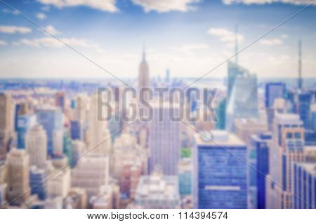 Defocused Background With Aerial View Of New York Skyline