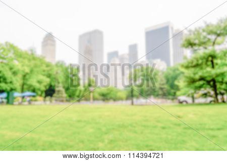 Defocused Background Of Central Park, New York City, Usa
