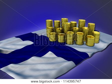 Finnish economy concept with national flag and golden coins