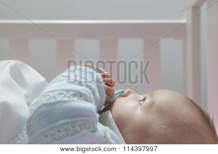 Awake Four Month Baby Boy Lying In Cot With Pacifier