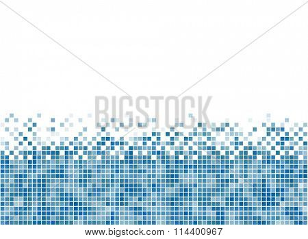 Abstract blue mosaic bottom stripe with white copy space.