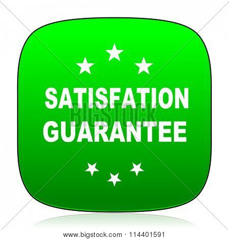 satisfaction guarantee green icon for web and mobile app