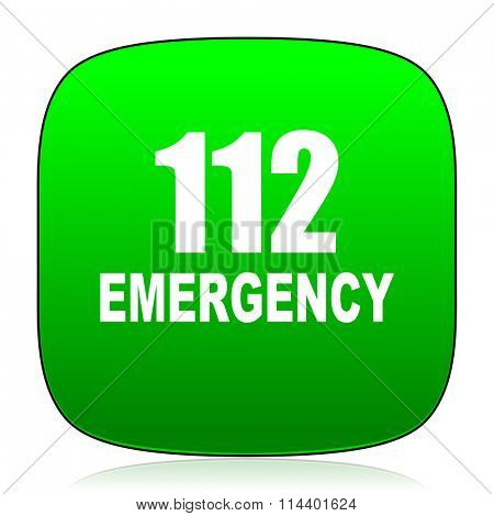 number emergency 112 green icon for web and mobile app