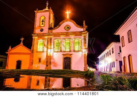 Colonial Church And Lit And Bright Cross The Historic City Of Paraty