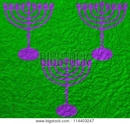 Abstract Hannukah Candlestick on green background
