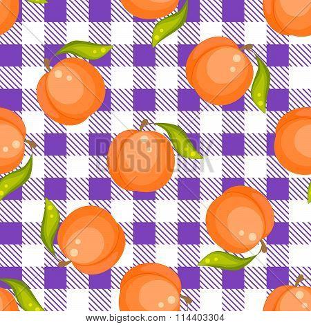 Tartan plaid with peaches seamless pattern.