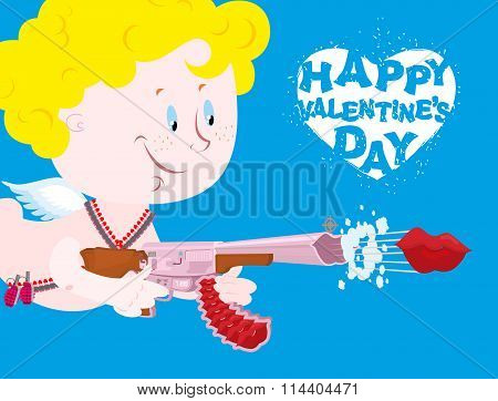 Valentines Day. Blue Valentine. Funny Cupid With Automatic Weapons. Kiss Departs From  Muzzle Of Gun