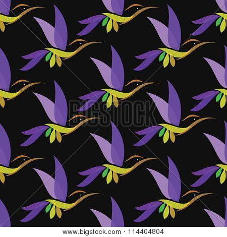 Hummingbird Vector Art Background Design For Fabric And Decor. Seamless Pattern