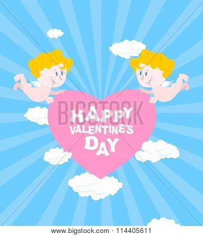 Happy Valentines Day. Greeting Card For Valentines Day - Valentine. Two Angels Hold Heart. Cute Funn