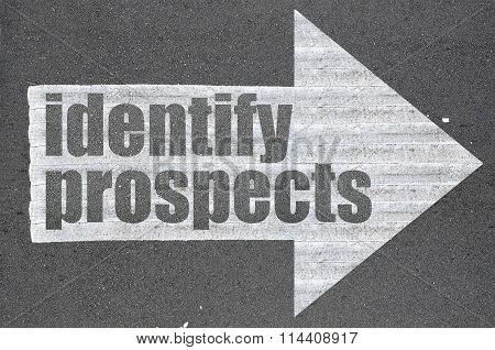 Arrow On Asphalt Road Written Word Identify Prospects