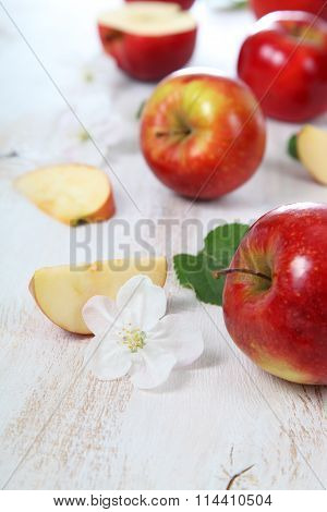 Apples On A  Wooden Table