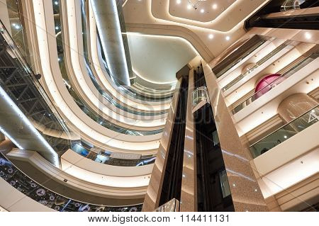 HONG KONG - DECEMBER 25, 2015:  interior of shopping mall in Hong Kong. Hong Kong shopping malls are some of the biggest and most impressive in the world