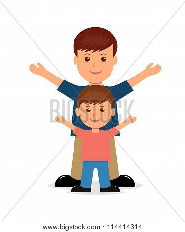 Father and son. Isolated vector people in a flat style