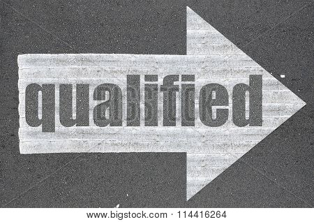 Arrow On Asphalt Road Written Word Qualified