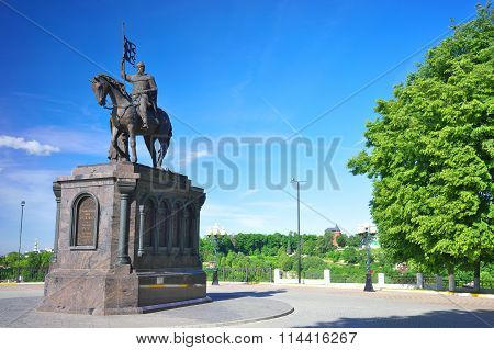 The monument to Prince Vladimir in summer, Russia.