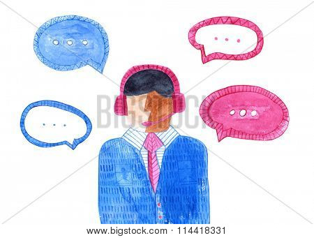 Watercolor call center. Isolated male avatar. Man wearing headsets with colorful speech bubbles. Concept of client service and communication.