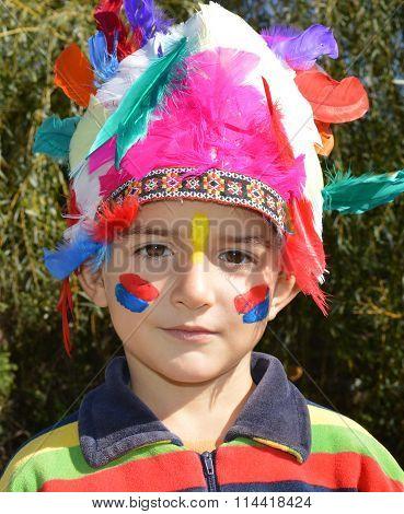 Kid Dressed As Indian
