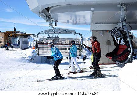 Skiers In Ski Lift