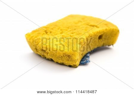 Used Double-side Cleaning Sponge On A White Background