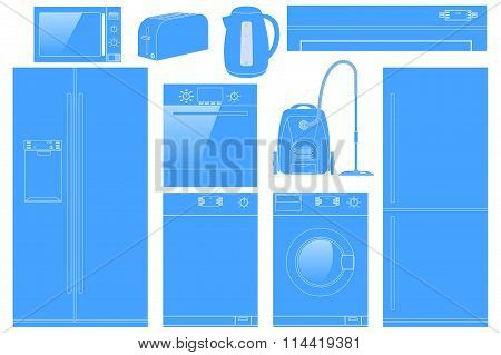 Home Appliances Icon. Set Of Household Kitchen Technics: Microwave And Oven, Dishwasher, Vacuum Clea