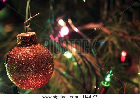 Gold-Glitter Ball Ornament