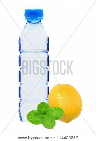 Blue Bottle With Water, Mint And Fresh Yellow Lemon Isolated On White