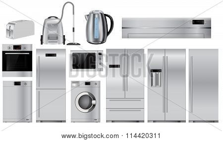 Home Appliances. Set Of Household Kitchen Technics: Microwave And Oven, Dishwasher, Vacuum Cleaner,