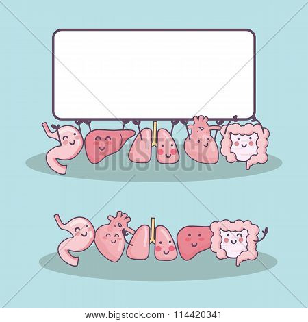 Happy Organ Cartoon With Billboard